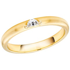 18 Karat Yellow Gold Half Moon Shape Diamond Band