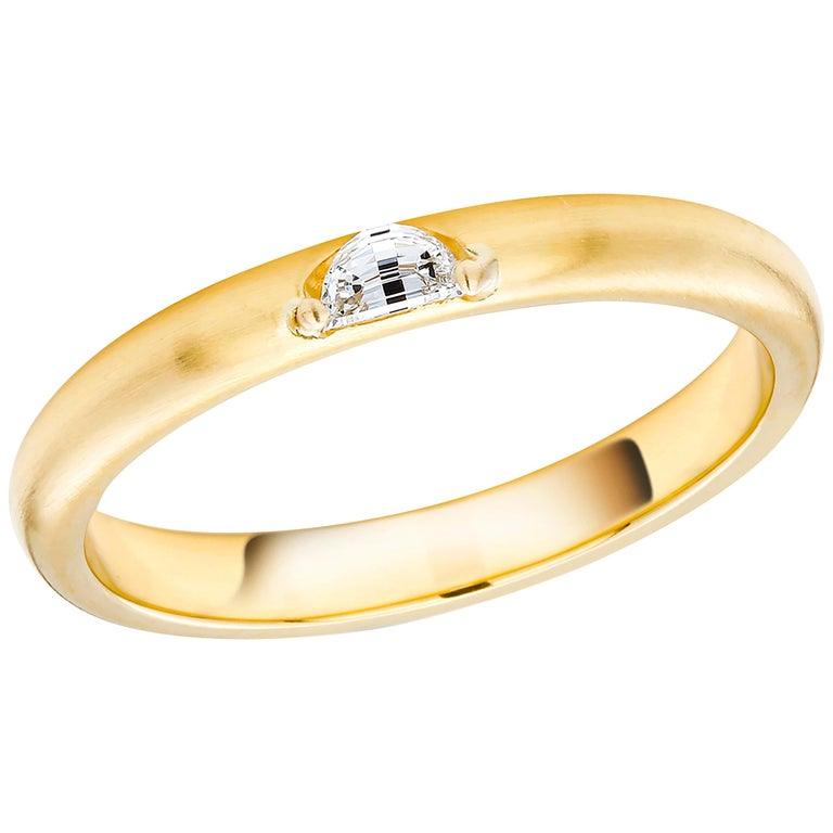 18 Karat Yellow Gold Half Moon Shape Diamond Band For Sale