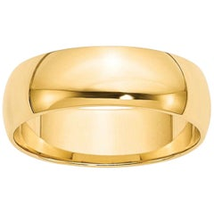 18 Karat Yellow Gold Half Round Classic Wide Wedding Band Ring