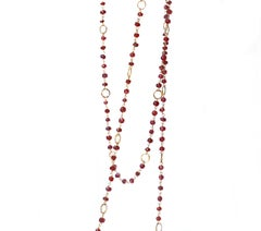 18 Karat Yellow Gold Hammered Links Garnet Beaded Necklace Sautoir