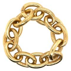 18 Karat Yellow Gold Hammered & Polished Oval Link Bracelet 46.1 Grams
