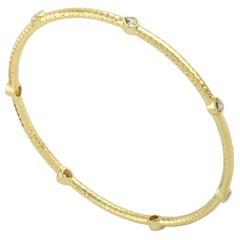 18 Karat Yellow Gold Hammered Rosecut Diamond Bangle Bracelet