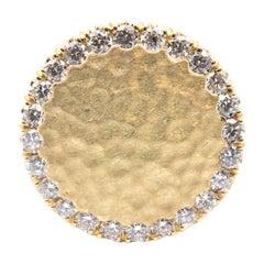 18 Karat Yellow Gold Hammered Round Shaped Diamond Ring