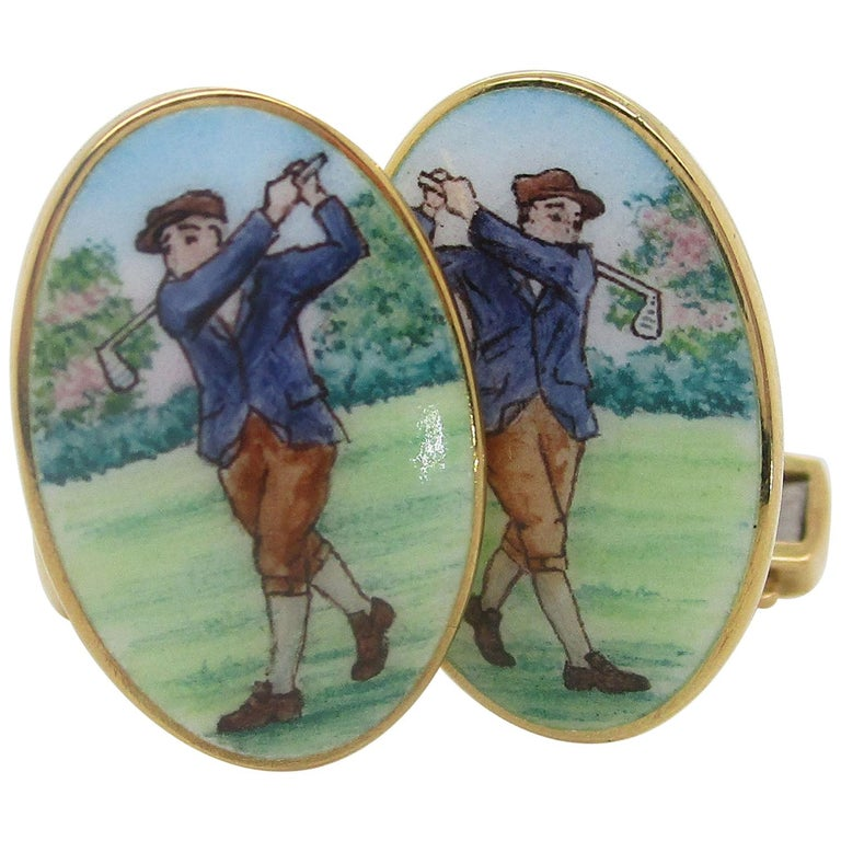 18 Karat Yellow Gold Hand Painted Bobby Jones Golfer Cufflinks For Sale