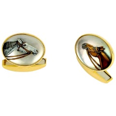 Deakin & Francis 18 Karat Yellow Gold Hand Painted Crystal Horses Head Cufflinks