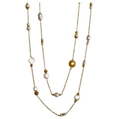 18 Karat Solid Yellow Gold Handcrafted Pearl Necklace