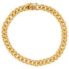 18 Karat Yellow Gold Handmade Cuban Link Bracelet
