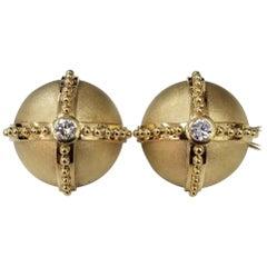 18 Karat Yellow Gold Handmade Diamond Domed Earrings