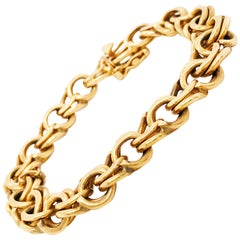 18 Karat Yellow Gold Handmade Double Link Estate Bracelet, Charm Bracelet