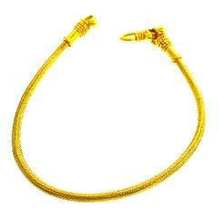 18 Karat Yellow Gold Handmade Flexible Snake Bracelet