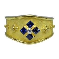 18 Karat Yellow Gold Handmade Sapphire and Diamond Cigar Band Ring