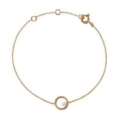 18 Karat Yellow Gold Heart Beading Diamond Bracelet