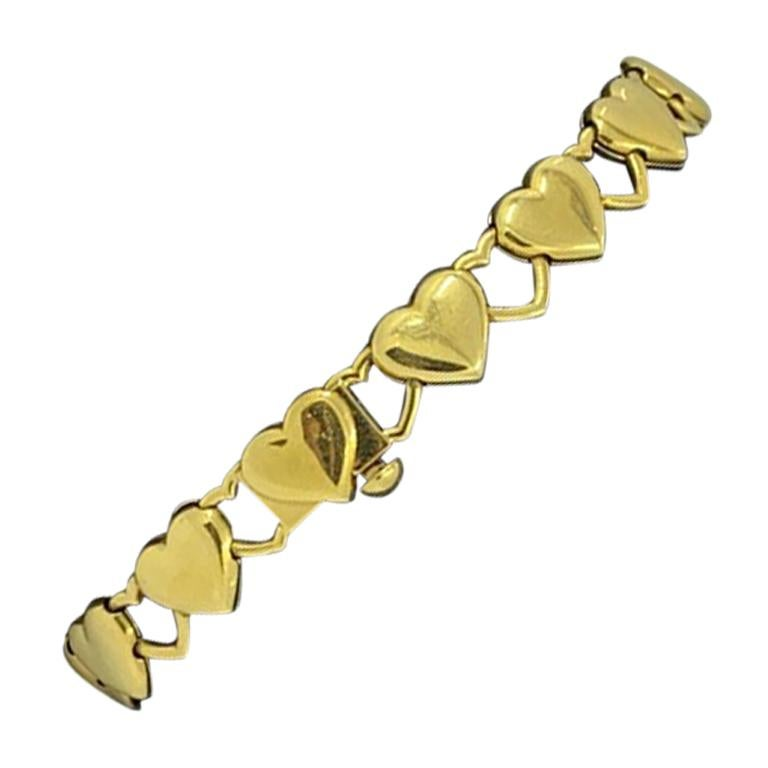 18 Karat Yellow Gold Heart Bracelet, 28.6 Grams
