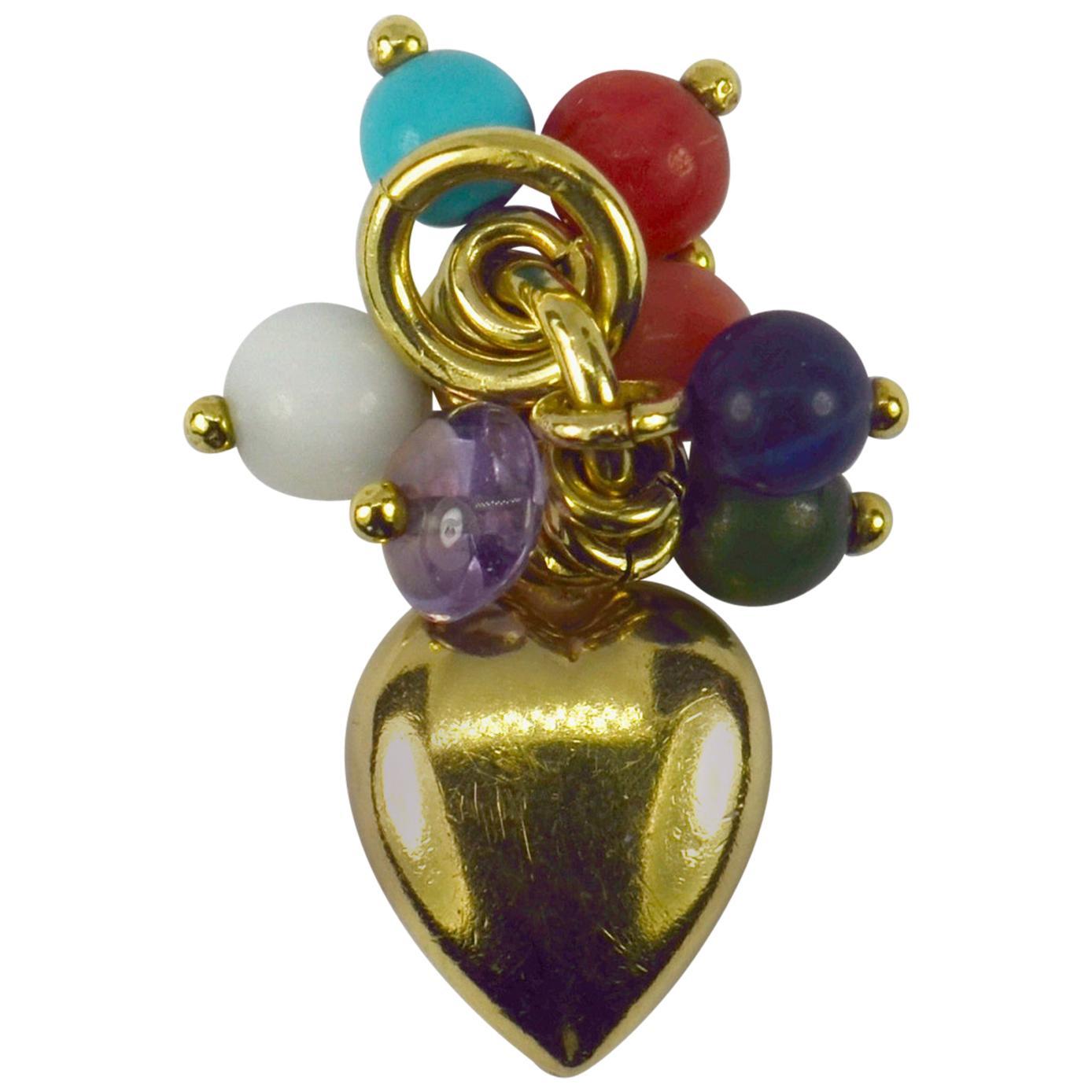 18 Karat Yellow Gold Heart Gem Tassel Charm Pendant