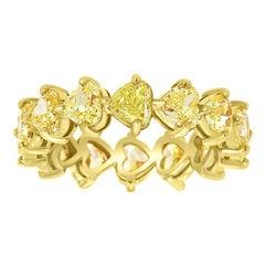 18 Karat Yellow Gold Heart Yellow Diamonds Eternity Ring '4 1/2 Carat'