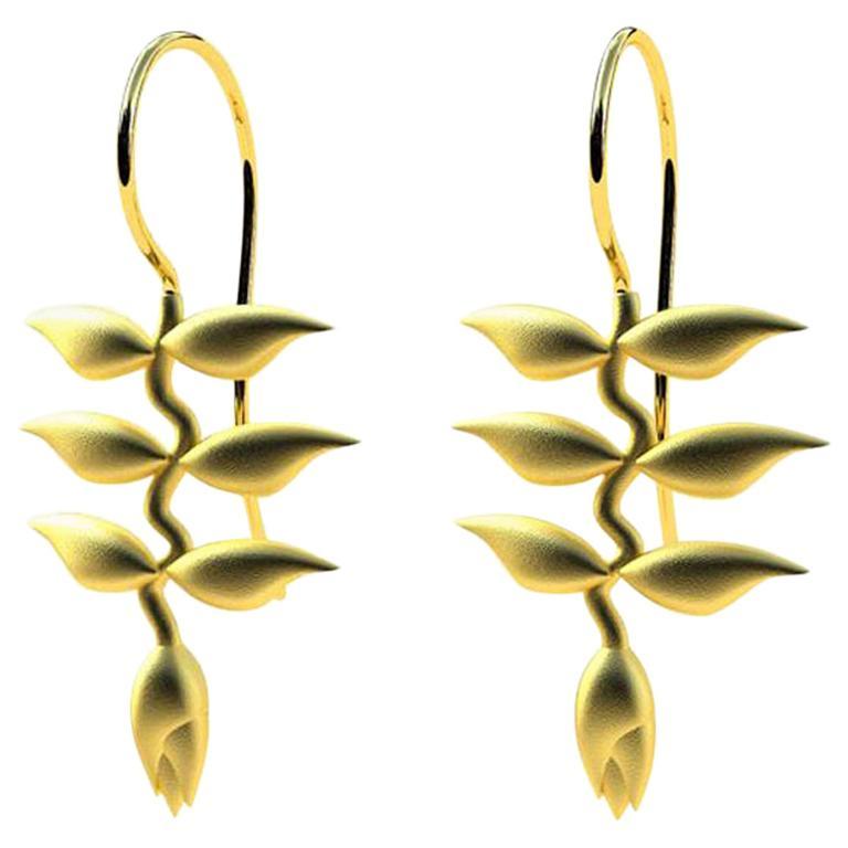 18 Karat Yellow Gold Heliconia Dangle Earrings
