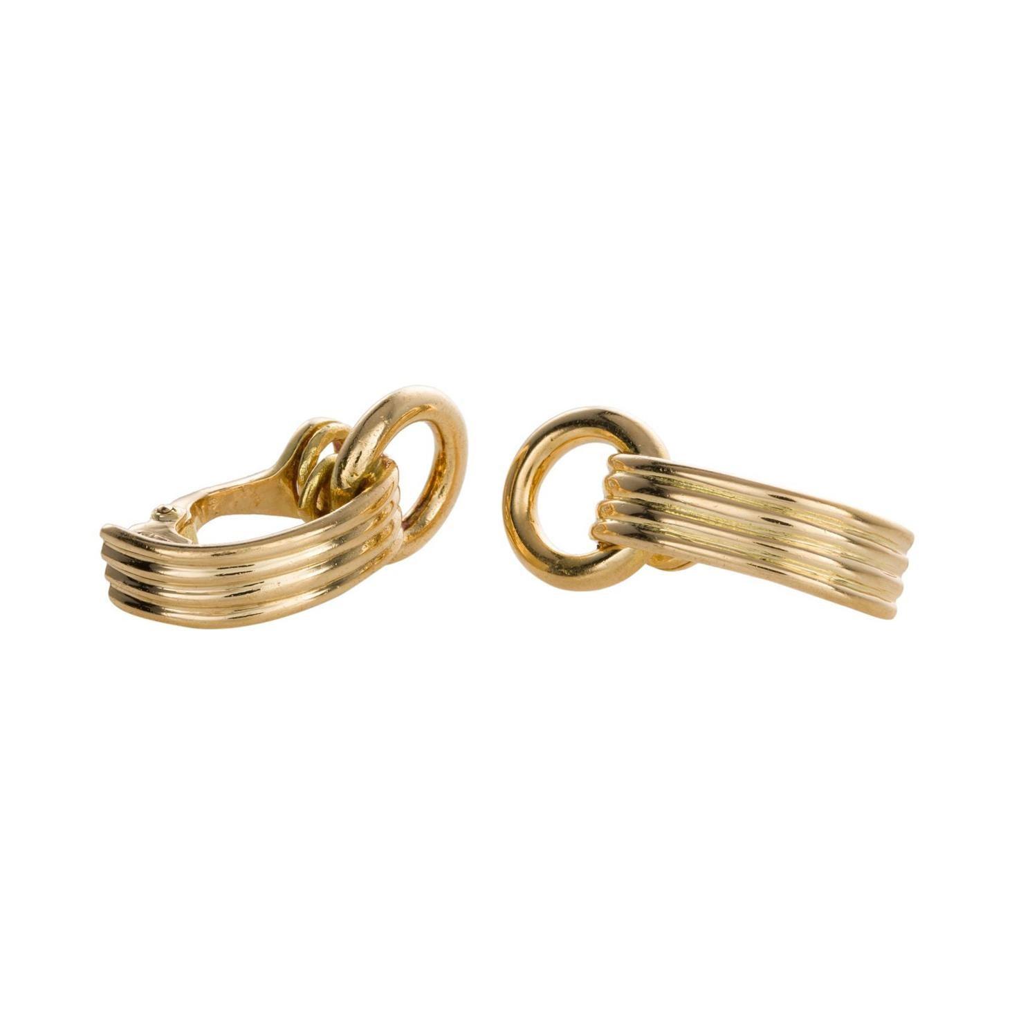 18 Karat Yellow Gold Hermes Ear Clips