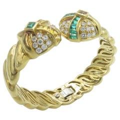 18 Karat Yellow Gold Hinged Bangle with Diamonds, Emeralds and Citrine