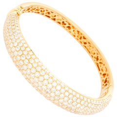 18 Karat Yellow Gold Hinged Diamond Bracelet