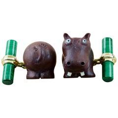 18 Karat Yellow Gold Hippopotamus Jasper Brown and Malachite Cufflinks