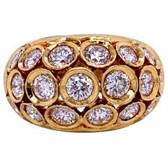 18 Karat Yellow Gold Honeycomb Dome Ring 2.77 Carat