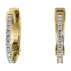 18 Karat Yellow Gold Hoop Diamond Earrings '1/2 Carat'