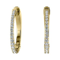 18 Karat Yellow Gold Hoop Diamond Earrings '1 Carat'