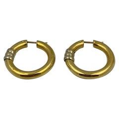 18 Karat Yellow Gold Hoop Earrings, 8.6 Grams
