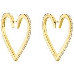 18 Karat Yellow Gold Hoop Earrings with White Diamonds