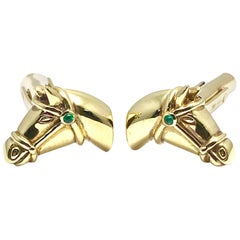 18 Karat Yellow Gold Horse Cufflinks with an Emerald Accent Bridle