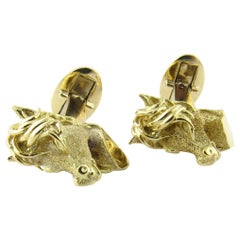 18 Karat Yellow Gold Horse Head Cufflinks