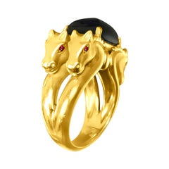 18 Karat Yellow Gold Horse Ring and Black Onyx Center Stone