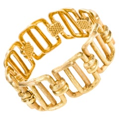 18 Karat Yellow Gold Hungarian Textured Link Bracelet