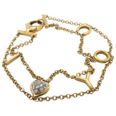 18 Karat Yellow Gold I Love You Chain Link Bracelet