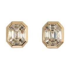 18 Karat Yellow Gold Illusion Diamond Stud Earrings