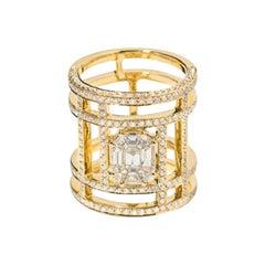18 Karat Yellow Gold Illusion Large Tube Pave Diamond Ring