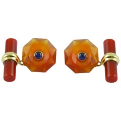 18 Karat Yellow Gold in Carnelian with Sapphires Cufflinks