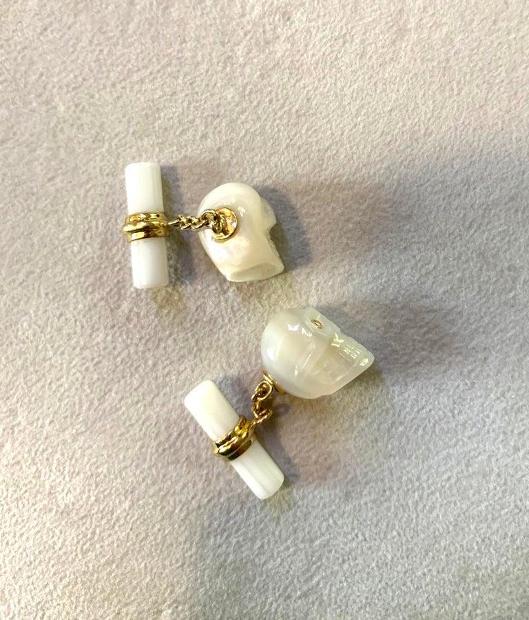 Women's or Men's 18 Karat Yellow Gold in Mother of Pearl and Diamonds Skull Cufflinks For Sale