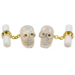 18 Karat Yellow Gold in Mother of Pearl and Diamonds Skull Cufflinks