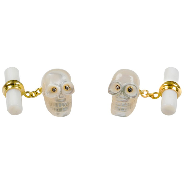 18 Karat Yellow Gold in Mother of Pearl and Diamonds Skull Cufflinks For Sale