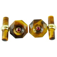 18 Karat Yellow Gold in Tiger's Eye with Rubies Cufflinks