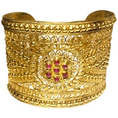 18 Karat Yellow Gold Indian Style Filigree Cuff with 7 Rubies by Manart