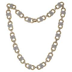 18 Karat Yellow Gold Infinity Link Diamond Necklace