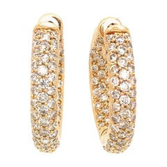 18 Karat Yellow Gold Inside Out Diamond Hoop Earrings