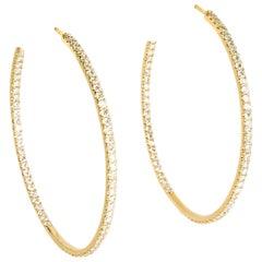 18 Karat Yellow Gold Inside Outside Diamond Pave Hoop Pierced Earrings Brand New