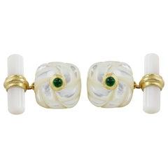18 Karat Yellow Gold Interwoven Square Mother of Pearl Emeralds Cufflinks