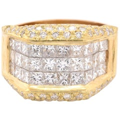18 Karat Yellow Gold Invisible Set Diamond Fashion Band