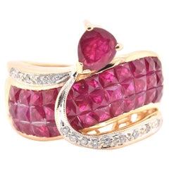 18 Karat Yellow Gold Invisible Set Pigeons Blood Ruby and Diamond Ring