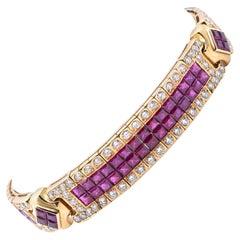 18 Karat Yellow Gold Invisible Set Ruby and Diamond Ornate Bracelet
