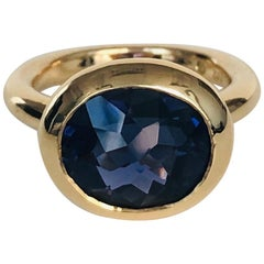 """18 Karat Yellow Gold Iolite Ring from Our """"Polo"""" Collection"""